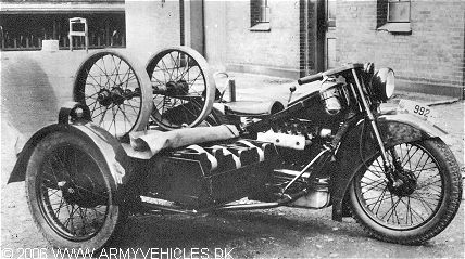 Picture courtesy of Danish Army Material Command Shown is a Nimbus MC as an ammunitions carrier for a 20 mm machine gun. 60 rounds of ammunition were carried on the gun bike, and further 180 rounds on the ammunition bike. Wheels were stored on the sidecar and could be mounted on the gun in order to move the gun from the sidecar and into a covered position.