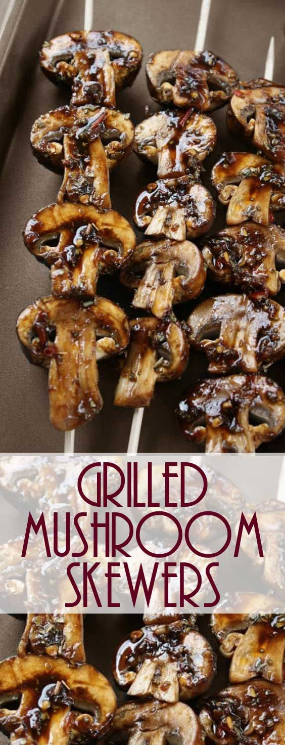 I absolutely love these Grilled Mushroom Skewers in every way! I could eat them every day, PLUS they taste so good and are healthy too! #grilling #mushroomrecipe #healthyrecipe #sidedish via @Flavoritenet