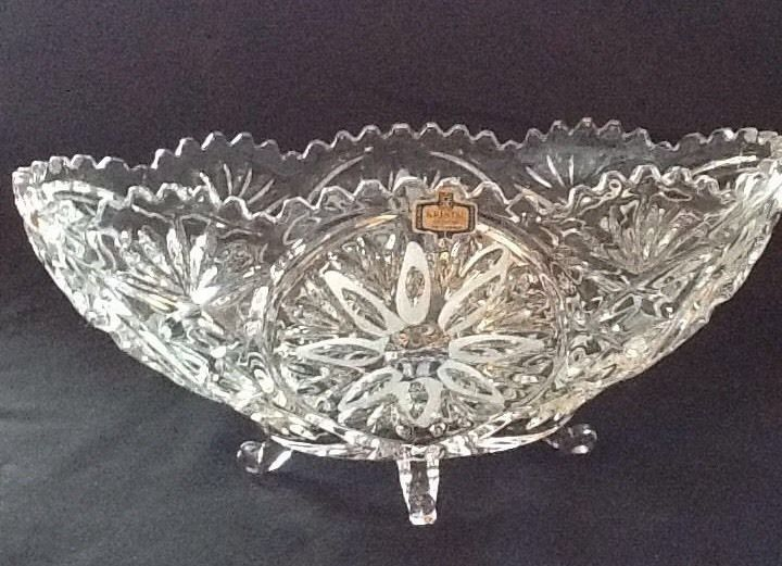 Crystal d 39 adriana yugoslavian 24 oval 4 footed centerpiece fruit bowl fruit crystals and bowls - Footed bowl centerpiece ...