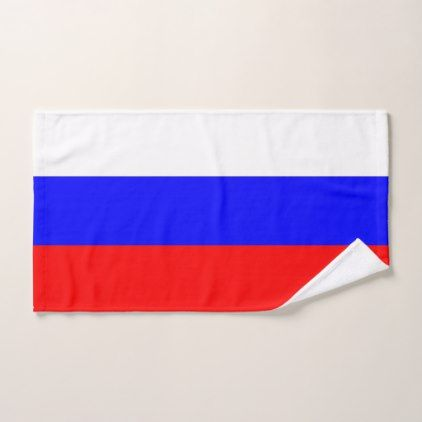 Hand Towel with Flag of Russia - home gifts ideas decor special unique custom individual customized individualized