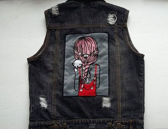 Woman Oversize Denim Cat Jacket / Cute Girls With Cat Jeans Waistcoat / 90s Style Teenage Jeans Vest / Woman Cute Punk Jeans Vest