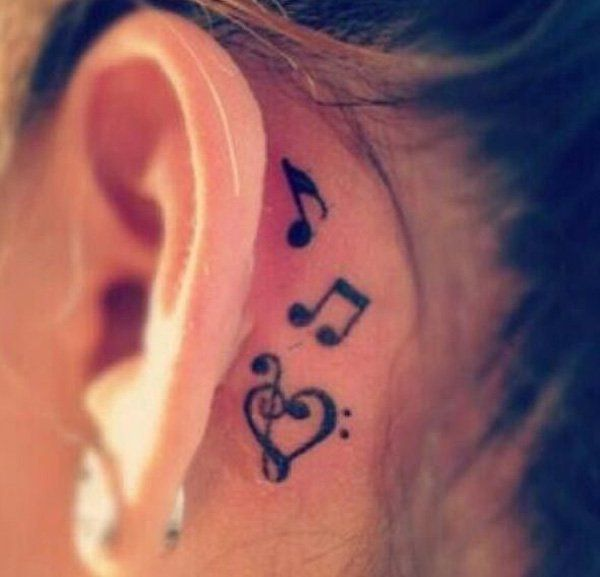 Music tattoo behind the ear - 60 Awesome Music Tattoo Designs   Art and Design