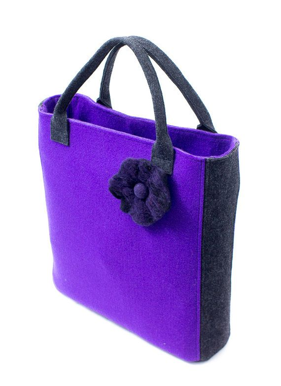 Large purple & graphite felt bag with wet felted flower by Anardeko