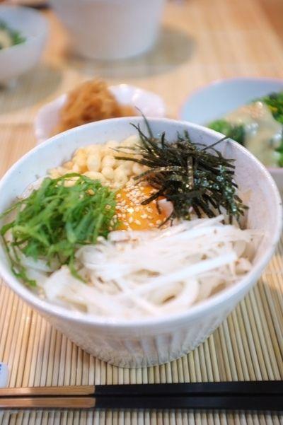 夕食☆讃岐うどん アスパラ菜(オータムポエム)のからし酢味噌和え ...