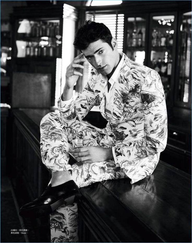 Matt Holyoak photographs Sean O'Pry in a print suit from Italian fashion house, Gucci.