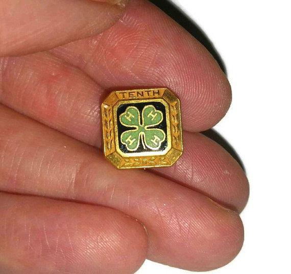 Tiny Vintage Shamrock Tie Pin 4 Leaf Clover Lapel Pin 4H Club Tenth Merit Brooch Good Luck Broach St Patricks Day Irish Luck Jewelry Gift