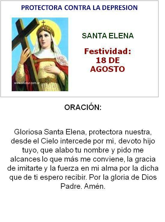 Santa Elena, protectora contra la depresión.