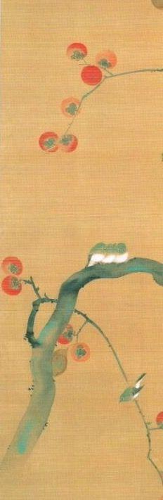 Sakai Hōitsu. Birds on Persimmon branch. Japanese hanging scroll