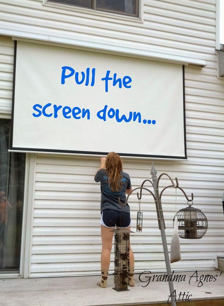 Grandma Agnes' Attic: Outdoor Movie Screen {in your Own Backyard!}