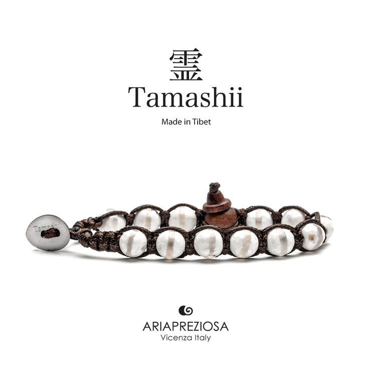 Bracciale originale Tamashii Painted realizzato con pietre naturali AGATA GHIACCIO dipinta col. BIANCO.