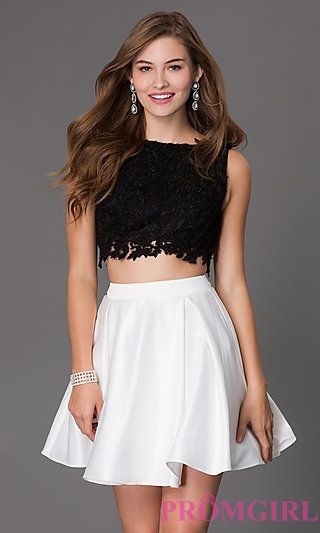Short Two Piece Dress 7300 with Lace Bodice at PromGirl.com