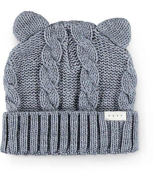Pounce into a fun look with this grey cuffed beanie made with ear detailing at the top and a thick knit construction that will keep your purrrrfectly warm and comfortable.