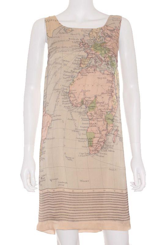 Vestido Mujer de Fiesta - Nice Things Seda Mapa Beige de Segunda Mano vista 1