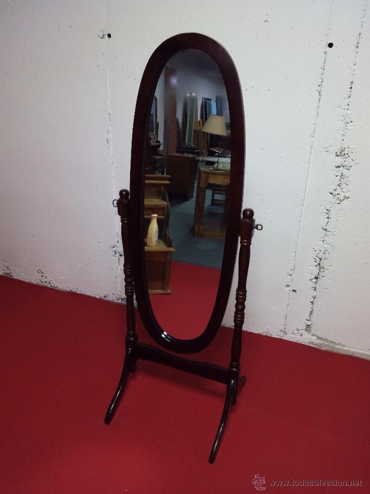 Espejo vestidor de pie en madera color nogal oscuro de for Espejo de pie