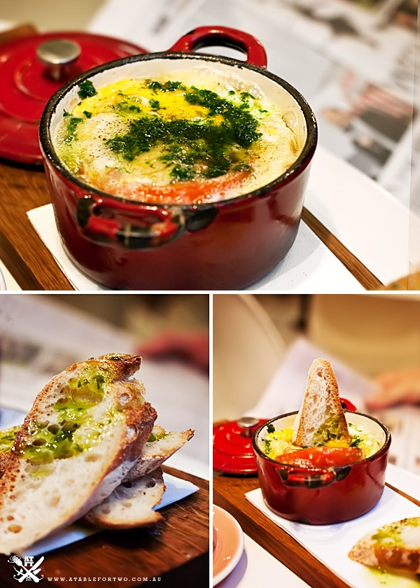 Baked Eggs with Brie, Slow Roasted Tomato and Sauce Verte @Matty Chuah Hardware Societe – Hardware Lane, Melbourne, VIC