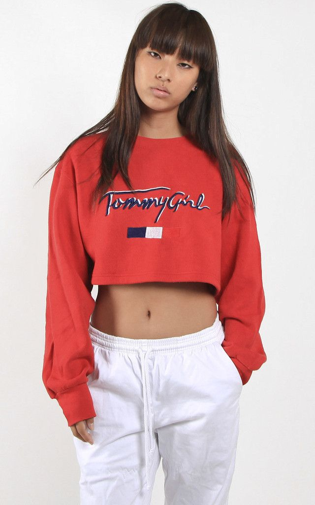 Vintage Tommy Girl Crop Sweater Frankie Collective
