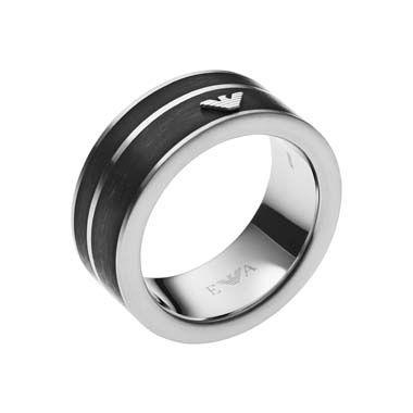 Emporio Armani Gents Black Geometries Stainless Steel Ring