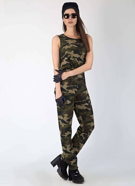 74ef7d0bd16d Camouflage backless Cotton Jumpsuit in 2019