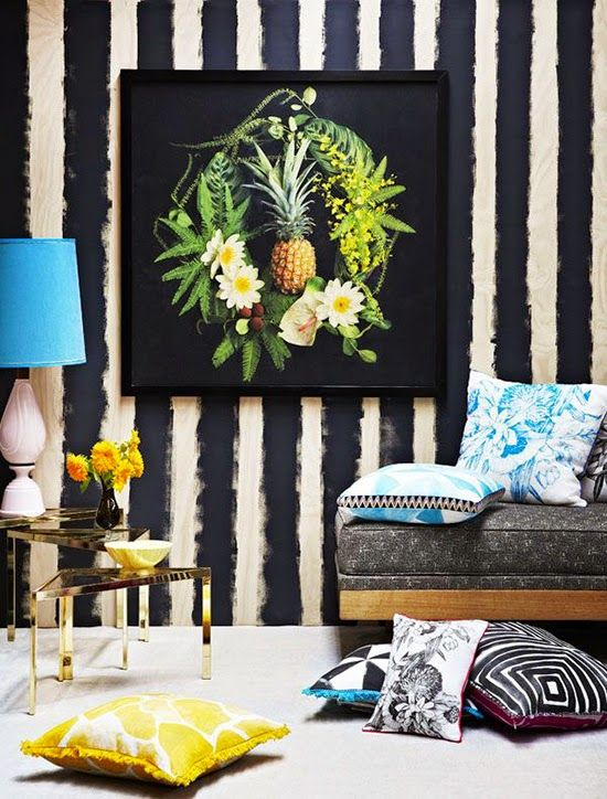 Striped Wallpaper - I love the fruit photo on black against the rough stripes and the yellow and teal accents.