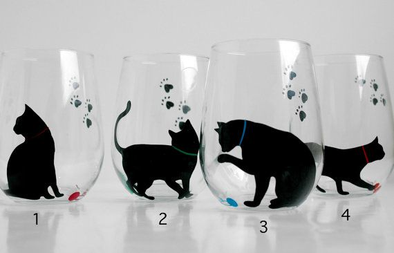 Cat and Yarn Stemless Wine Glasses by Mary Elizabeth Arts $40.00