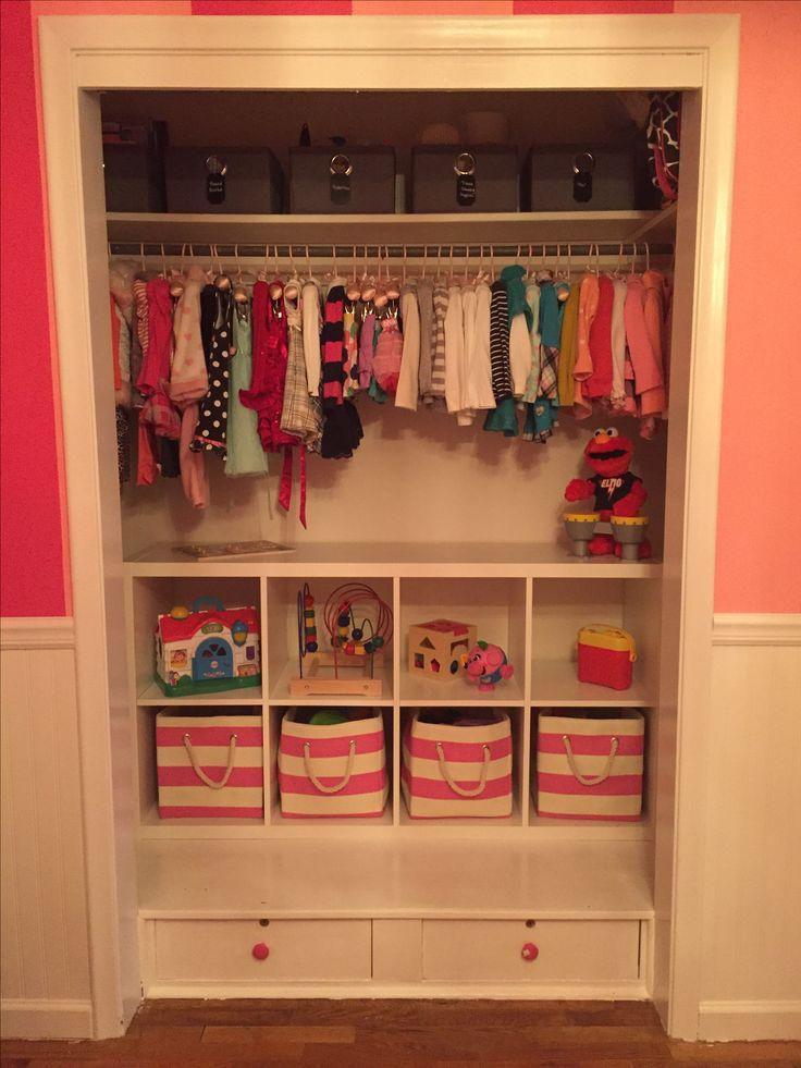 Toddler closet organization. Ikea shelving. Land of Nod baskets.