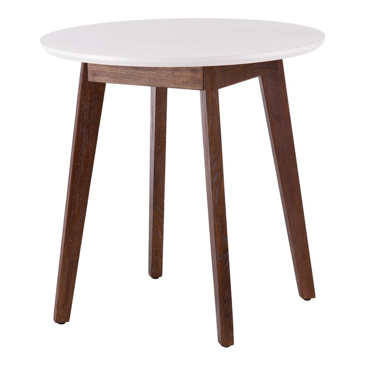 Gather round for game night! Our Oden Table features an epic white tabletop that diverges from burnt oak tapered legs for a playful, mad for mod feel. Just-right sized for a small space kitchen nook or open concept apartment. Pull up a seat for some serious gaming or foodie action with this dining room rockstar. Game on!<br>• High contrast two-tone materials <br>• Midcentury modern tapered legs<br>• White with burnt oak<br>• Overall:...