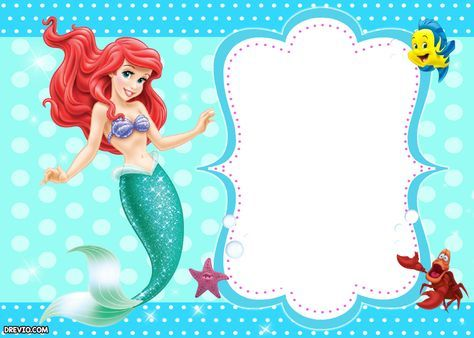 Download Updated! Free Printable Ariel the Little Mermaid Invitation Template