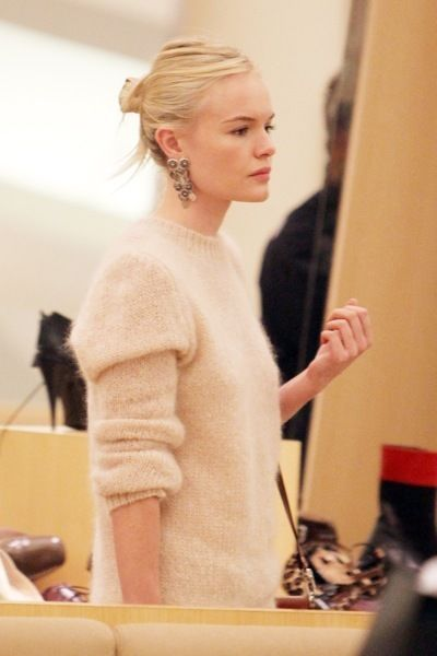 Kate Bosworth// love that angora sweater paired with those earrings.