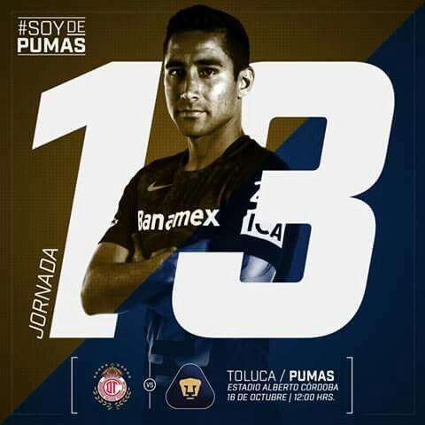 "Toluca Vs Pumas  Jornada 13 | Estadio Alberto ""Chivo"" Córdoba | 12:00 Hrs. #SoyDePumas"