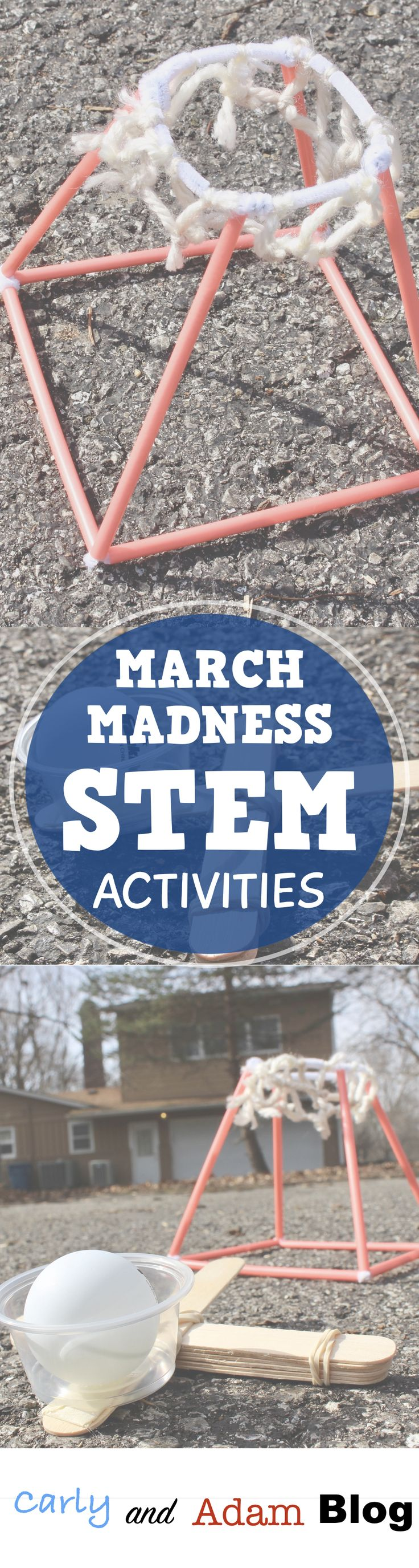 March Madness STEM activity build a basketball shooter and a basketball goal.