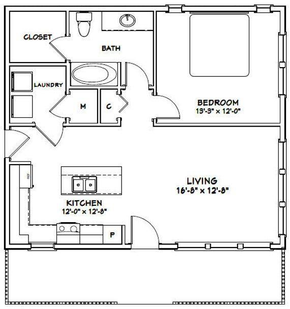 30x26 House 1 Bedroom 1 Bath 780 Sq Ft Pdf Floor Plan Etsy In 2020 Small House Floor Plans One Bedroom House Tiny House Floor Plans
