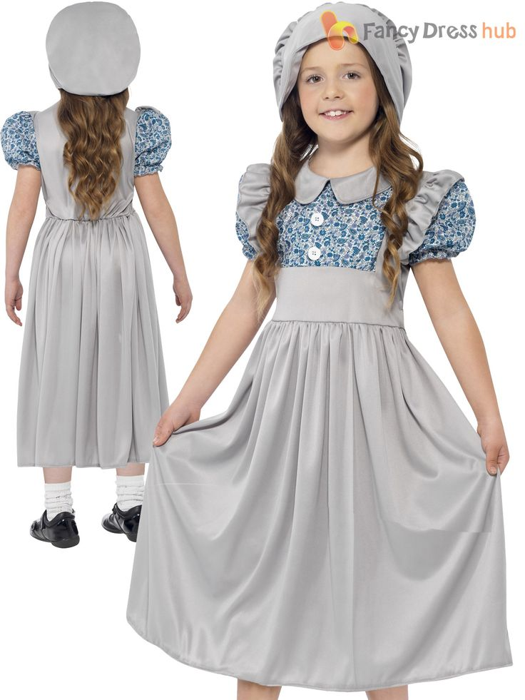 Victorian kids dresses blue and white