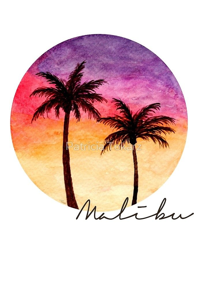 Malibu Sunset Watercolor Painting Summer Watercolor Sunset