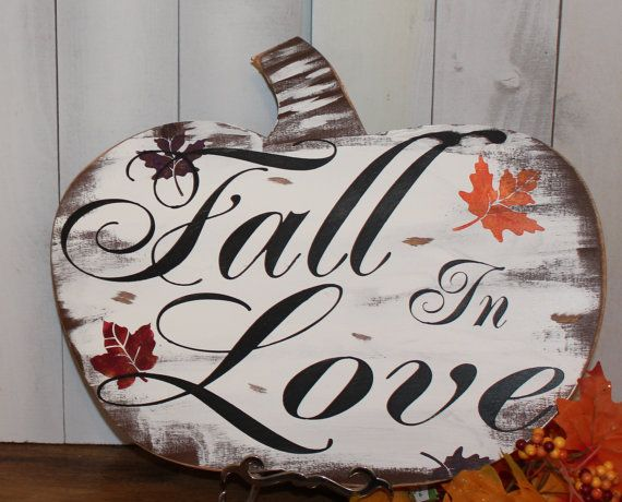 FALL in LOVE Sign/Pumkin/Wedding Sign/Romantic Fall Sign/Fall Leaves on Etsy…
