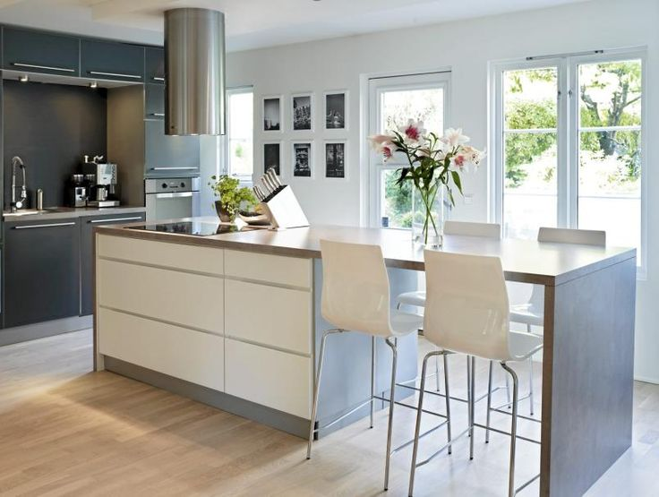 Modern Kitchen Island with 4 stool seating in arrangement