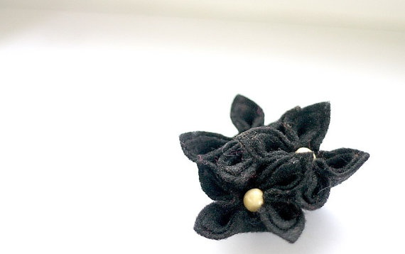 Chic Black Flower Brooch by GoodFloristDesign on Etsy, $19.00