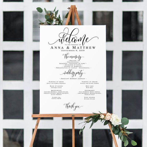 Modern Wedding program poster Wedding signage templates Instant download Order of service template Printable wedding sign personalized #vm11