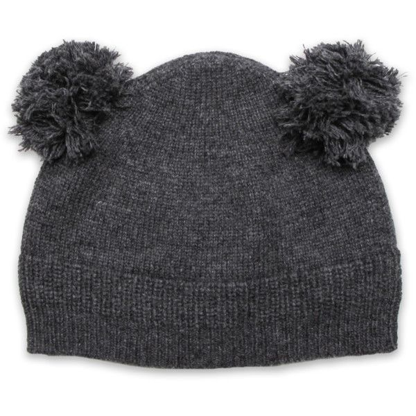 Cashmere Double Pom Hat in Derby Gray ($86) ❤ liked on Polyvore featuring accessories, hats, grey cashmere hat, grey hat, pompom hat, gray hat and cashmere hats