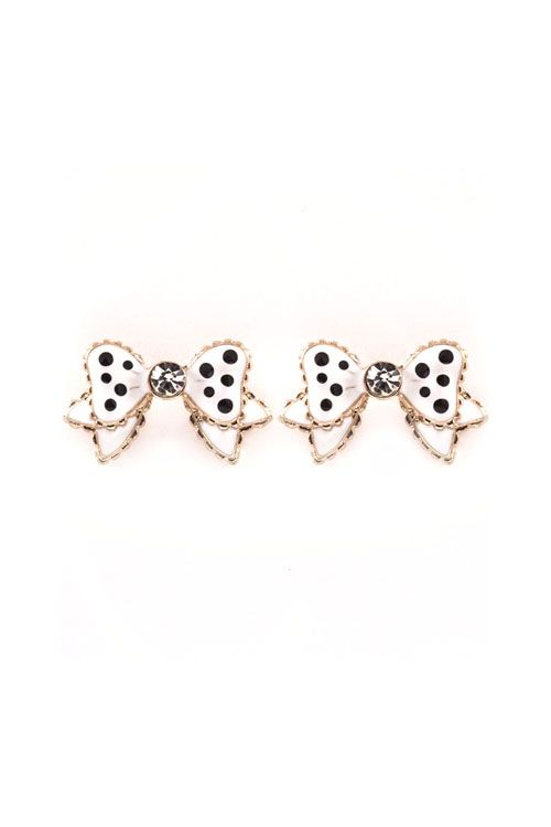 Polka Dot Bow Earrings in White