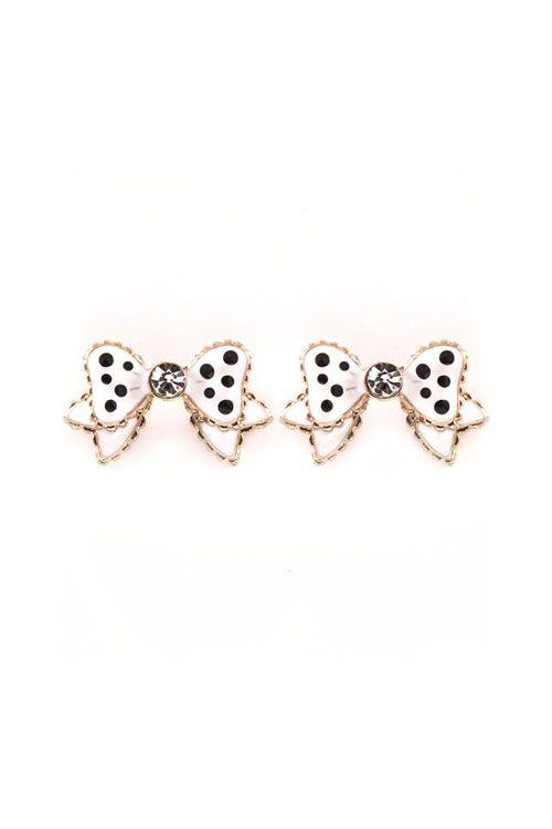 Polka Dot Bow Earrings in White