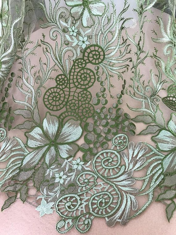 "47"" Wide Fabric Beige Embroidered Cutwork Designer Cotton Craft By The Metre"