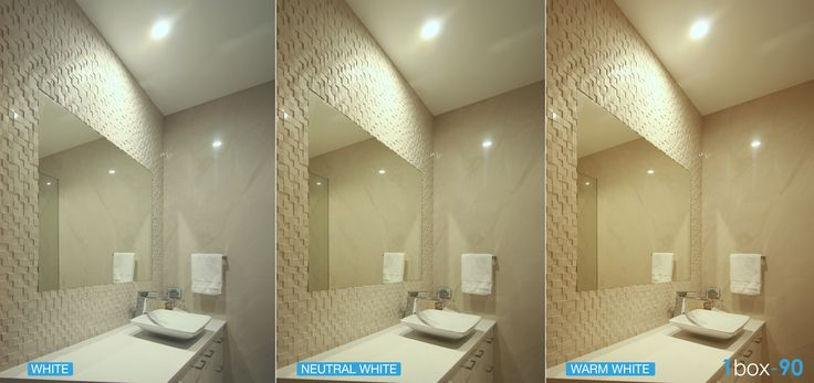 Why use white colour changing LED's in the bathroom?  Use cool white for applying make-up or shaving, warm white for a relaxing bath time and neutral white for general use. The innovative technology from M-Elec Superior Lighting (1BOX90 13W LED downlights).