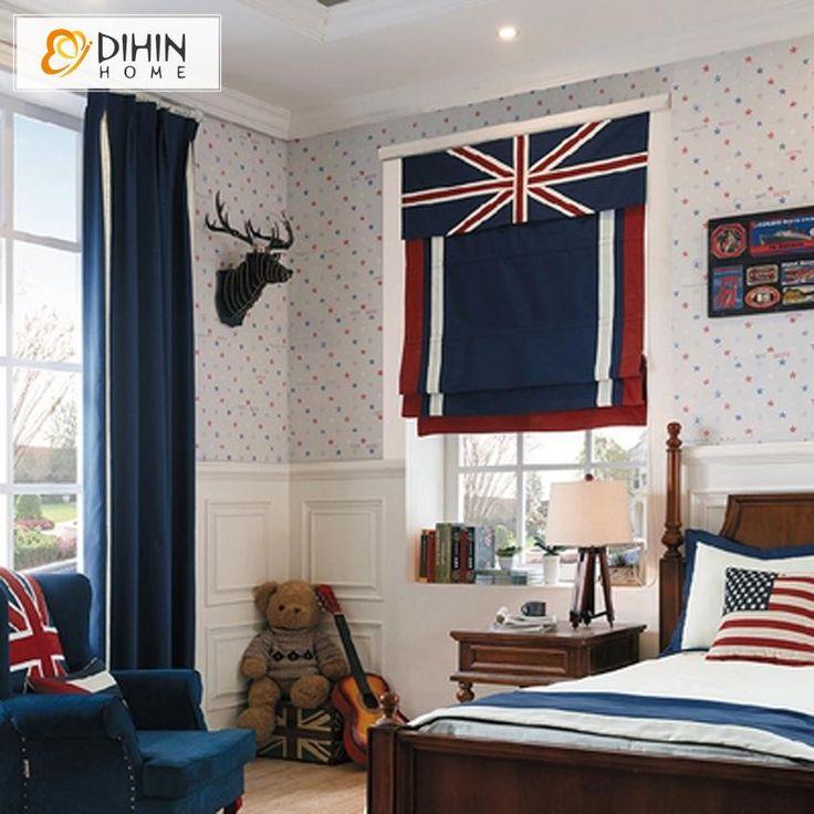 DIHIN HOME Cartoon Flags Printed Roman Shades ,Easy