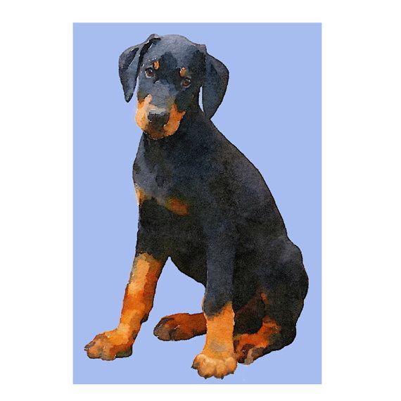 Doberman Puppy art, Doberman puppy print, Doberman print, Doberman painting, Doberman art, Dog lover art, Doberman lover art, puppy art, pup