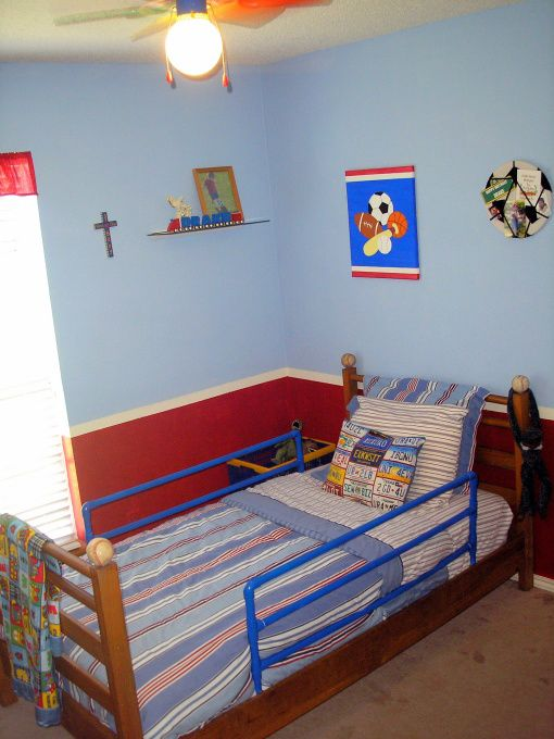 Toddler Boys Room Car And Sports Theme Mixed Together With Blue Red Walls Also When You Have A 2 Year Old Gotta Hang Thing Quadir Bedroom Boy
