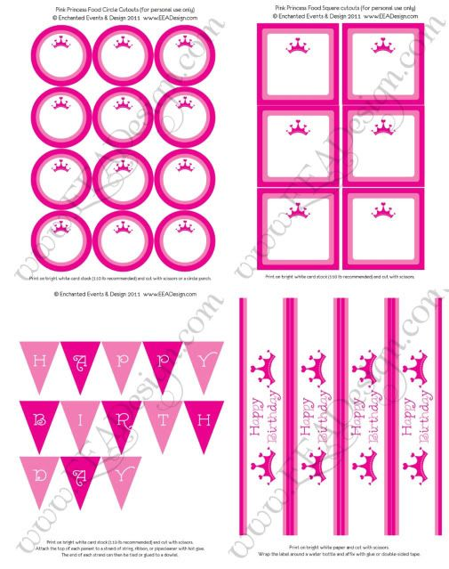 Pink Princess Party- FREE Printables! - Kara's Party Ideas - The Place for All Things Party