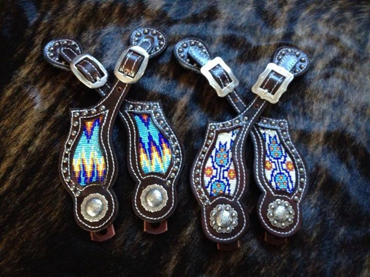 Crawford Custom Leather Aztec Beaded Spur Straps