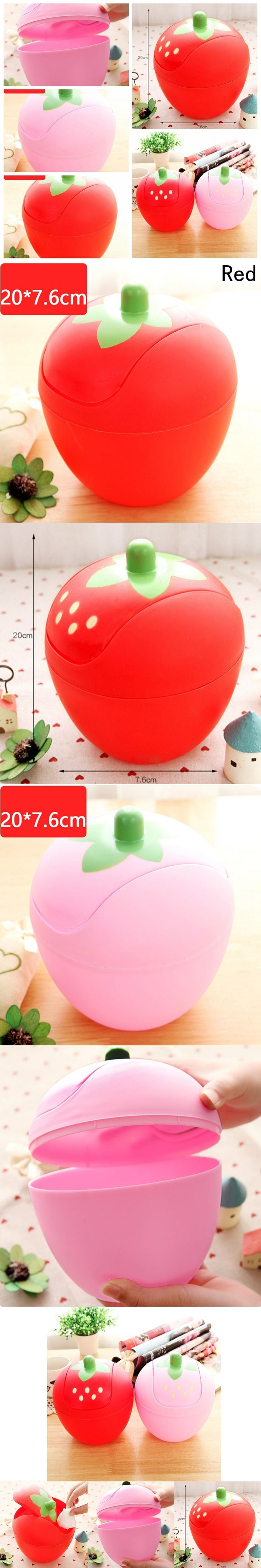 1Pcs Strawberry Shape Mini Trash Can with Lid Home Office Desktop Plastic Garbage Waste Bins Storage Boxes