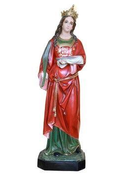 Statua S. Lucia cm. 155 altezza cm. 155 in vetroresina dipinta con colori acrilici e finiture ad olio disponibile anche con occhi di vetro La statua di Santa Lucia è disponibile al seguente link http://www.ovunqueproteggimi.com/collezione-statue/sante/lucia/
