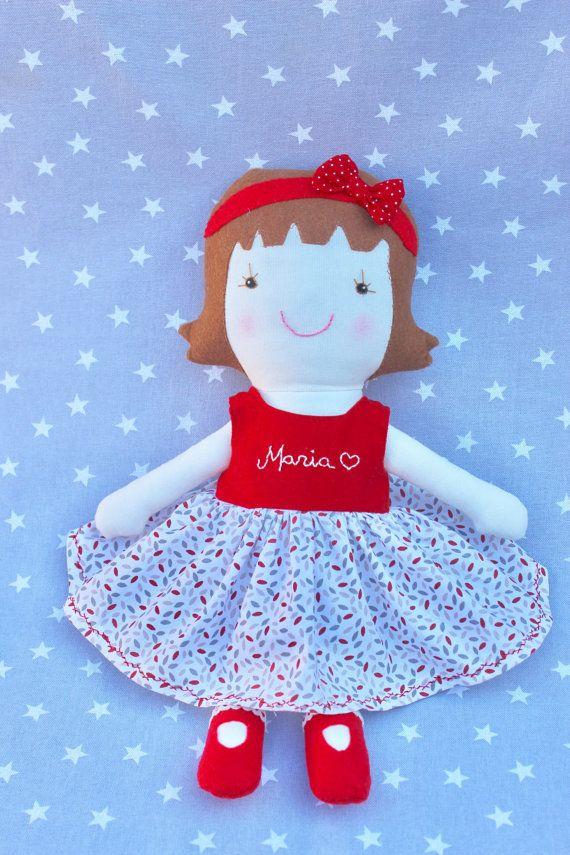 Muñeca Maria, regalo personalizado, muñeca niña, regalo bebé, regalo recién nacido, decoración de habitación infantil, juguetes de tela.